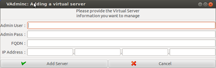 Initial screen for provisioning servers.