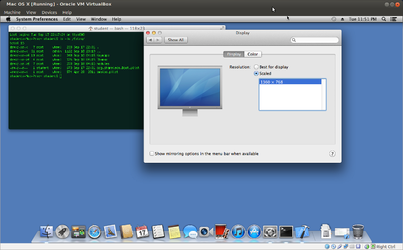 VirtualBox Mac OS X change screen resolution